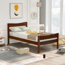 Twin Size Wood Platform Bed With Headboard And Slat Support