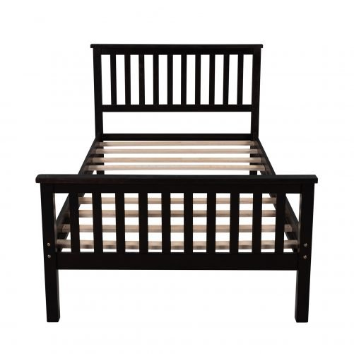 Twin Size Wood Platform Bed with Headboard, Footboard and Wooden Slat
