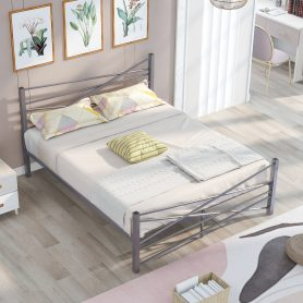 Queen Size Metal Platform Bed Frame With Headboard, No Box Spring Needed