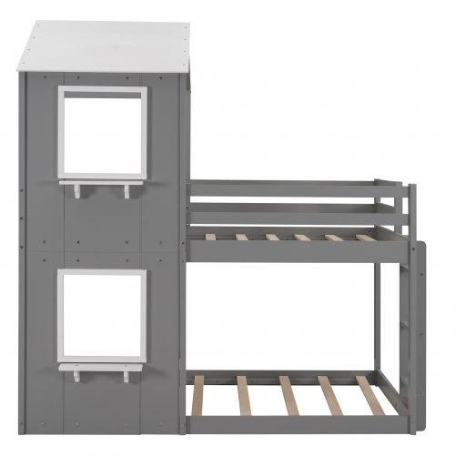 Twin Over Twin Wood Bunk Bed With Roof, Window, Guardrail, Ladder