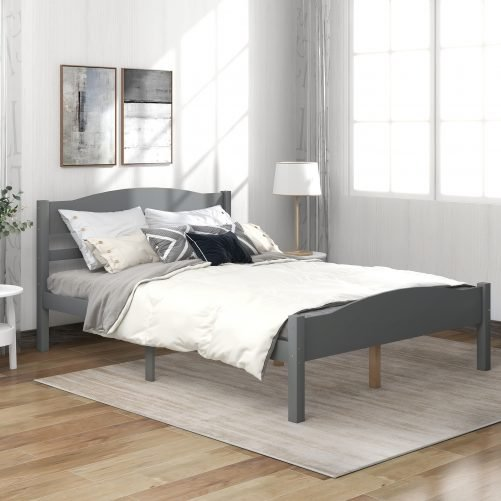 Platform Bed With Horizontal Strip Hollow Shape Headboard And Footboard And Center Support Feet, Full Sizegray