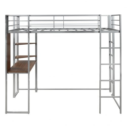Twin Metal Loft Bed With 2 Shelves And One Desk