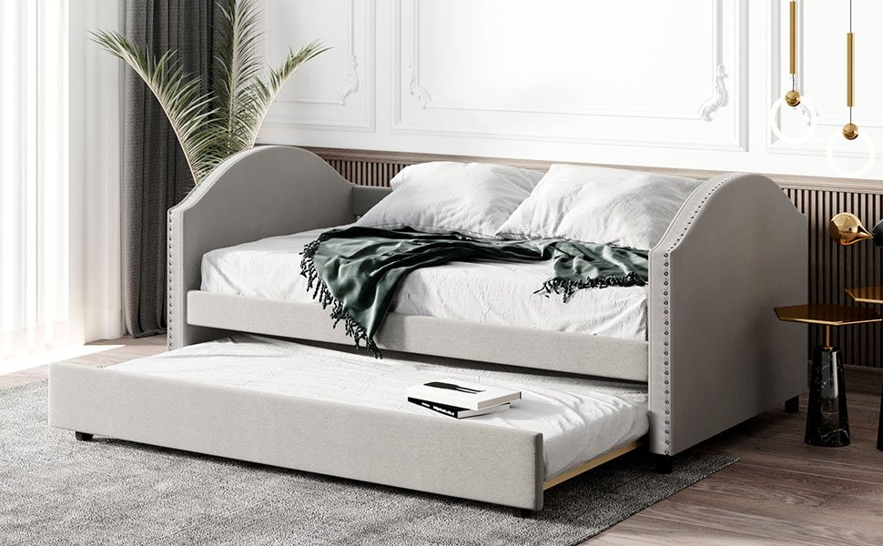 Full Size Upholstered Daybed With Twin Size Trundle