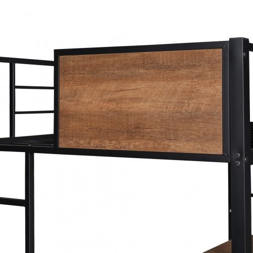 Twin Size Loft Bed With 2 Ladder And Desk, Storage Shelf
