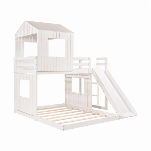 Twin Over Full Loft Bed With Farmhouse, Ladder, Slide And Guardrails
