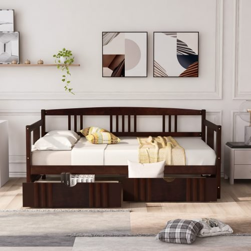 Twin Size Daybed Wood Bed With Two Drawers
