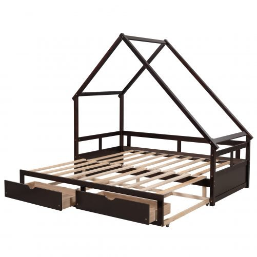 Wooden House Daybed With Two Drawers