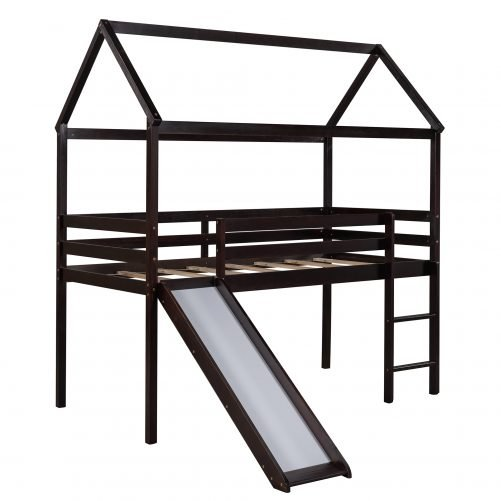 Twin Size Loft House Bed With Slide