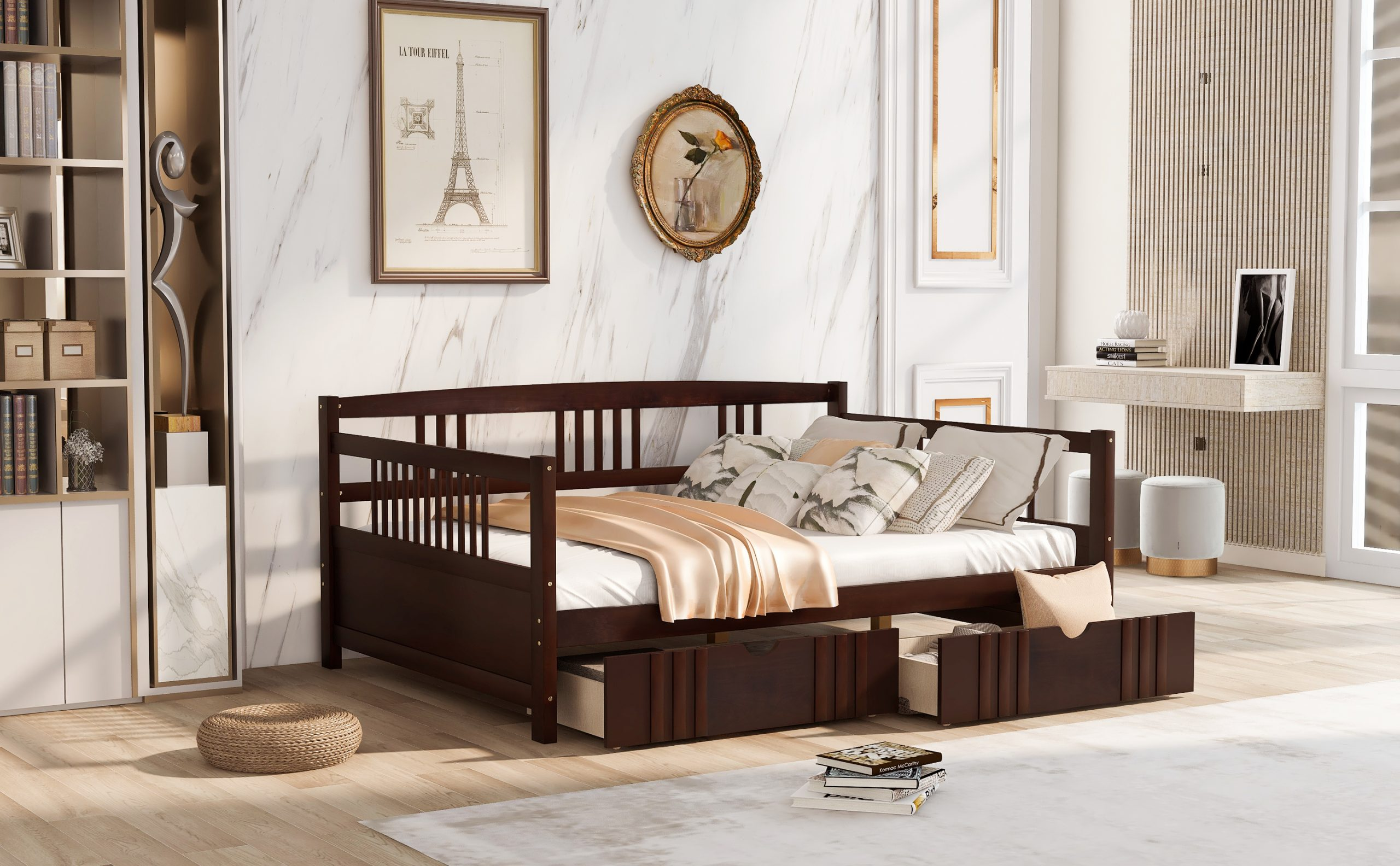 Full Size Daybed Wood Bed With Two Drawers