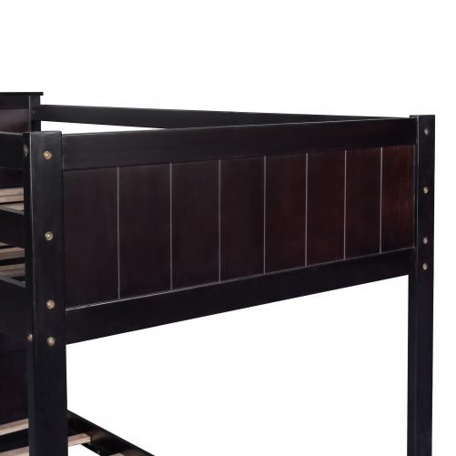 Wood Twin Over Twin Bunk Bed with Bookcase
