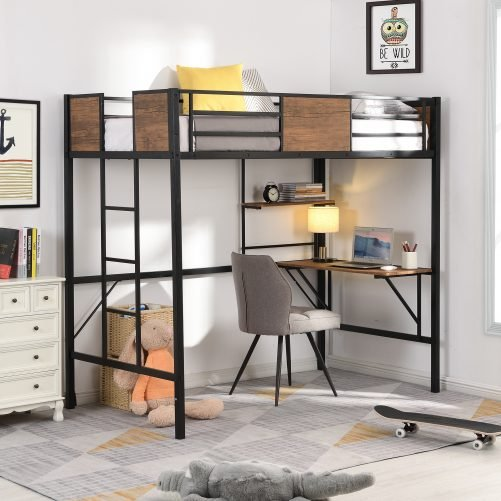 Pine Wooden Loft Bed With Storage Shelves
