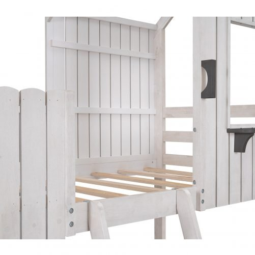 Twin Size Loft Bed With Roof, Window, Guardrail, Ladder