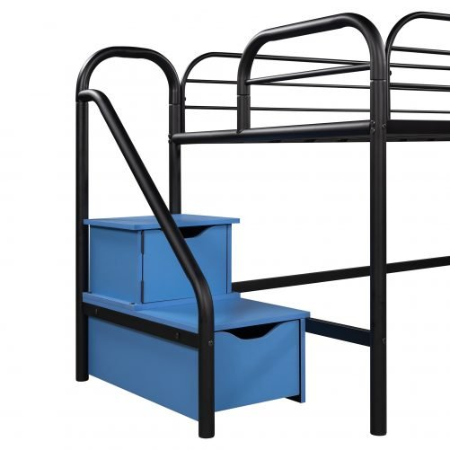 Low Loft Twin Metal Bed With Two Storage Steps, No Box Spring Needed