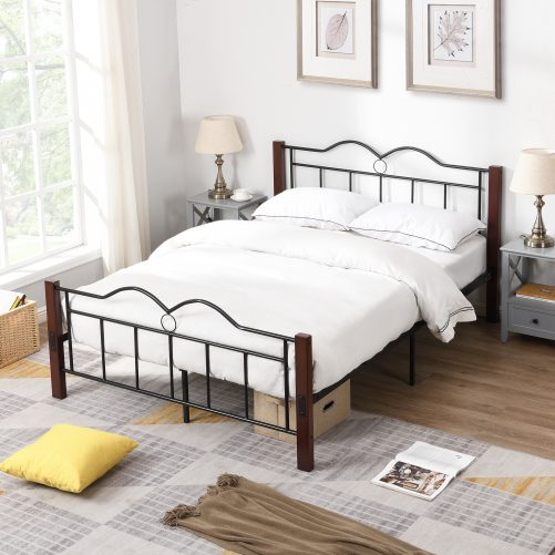 Metal Full Size Platform Bed With Wooden Feet