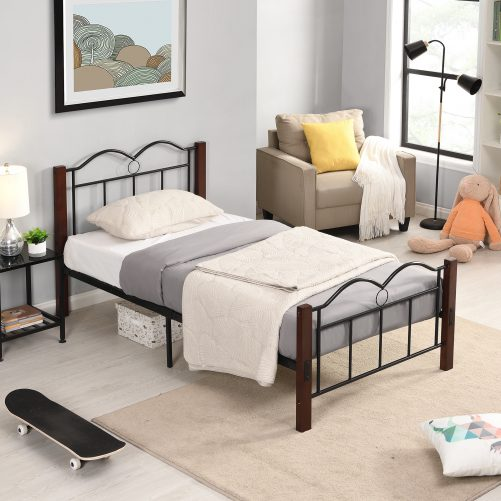 Metal Twin Size Platform Bed With Wooden Feet