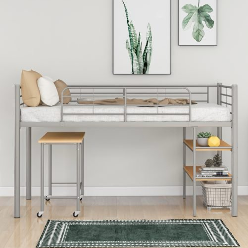 Twin Size Metal Loft Bed With Desk And Shelves
