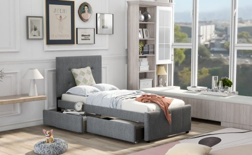 Linen Upholstered Platform Bed With Headboard And Two Drawers, Twin