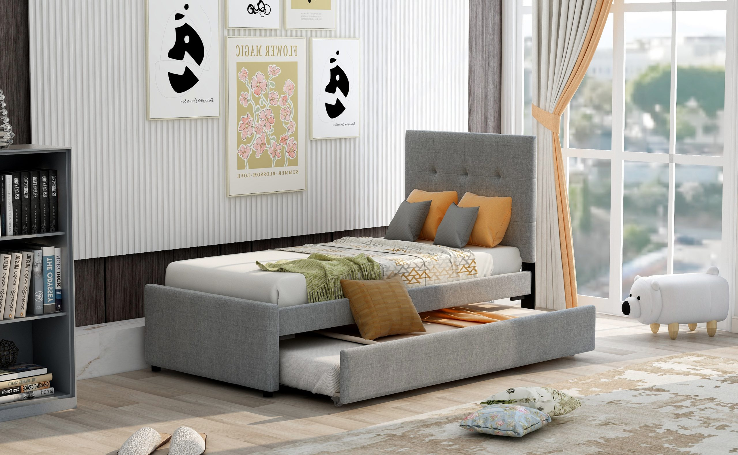 Linen Upholstered Platform Bed With Headboard And Trundle, Twin