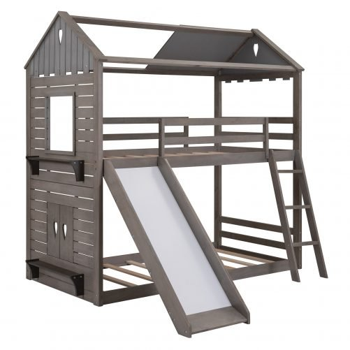 Twin Over Twin Wood Bunk Bed With Roof, Window, Slide, Ladder