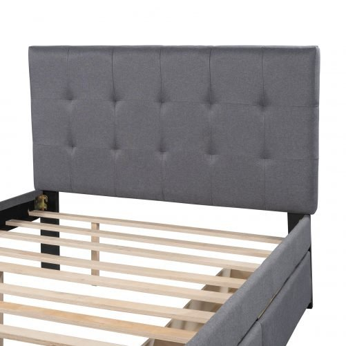 Linen Upholstered Platform Bed With Headboard And Two Drawers, Full