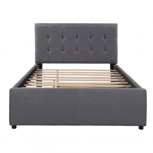 Linen Upholstered Platform Bed With Headboard And Trundle, Full