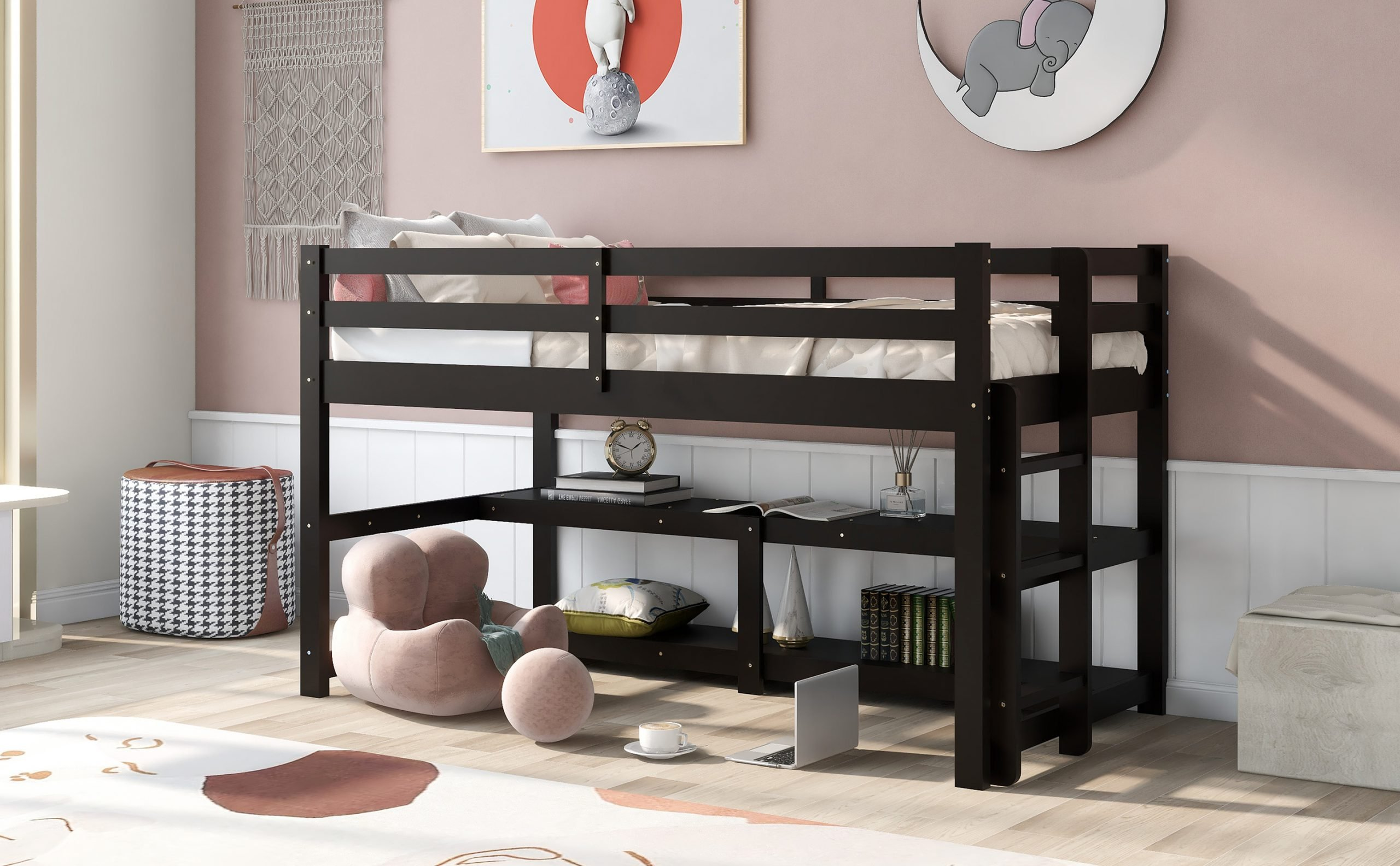 Twin Size Loft Bed With Shelves