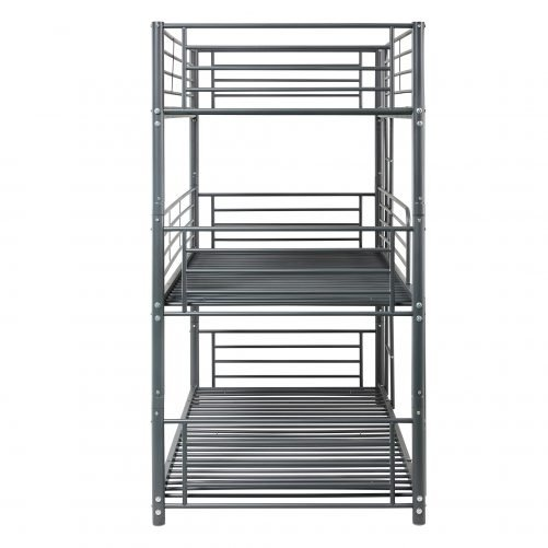 Twin-Twin-Twin Triple Bed With Built-in Ladder For Kids