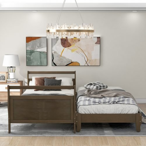 Classic Style Pine Wood Platform Bed