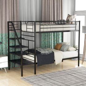 Twin Bunk Bed With Metal Frame And Ladder