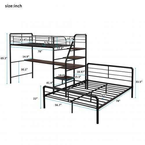 Twin Over Full Loft Bed Frame With Desk And Ladder And Separate Platform Bed