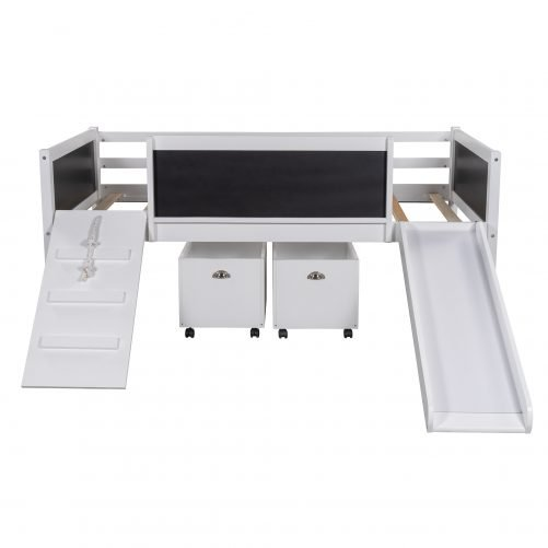 Twin Size Loft Bed Wood Bed With Two Storage Boxes