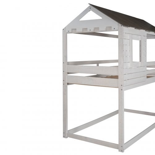 House Shape Twin Over Twin Wood Bunk Bed With Roof, Window, Guardrail, Ladder