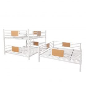 Full over Full over Full Triple Bed With Built-in Ladder, Can Divide Into Three Separate Beds