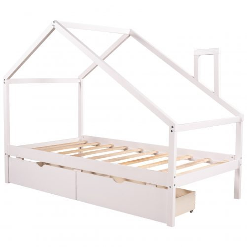 Twin Daybed With Two Pull-Out Drawers And Roof, House Shape Bed