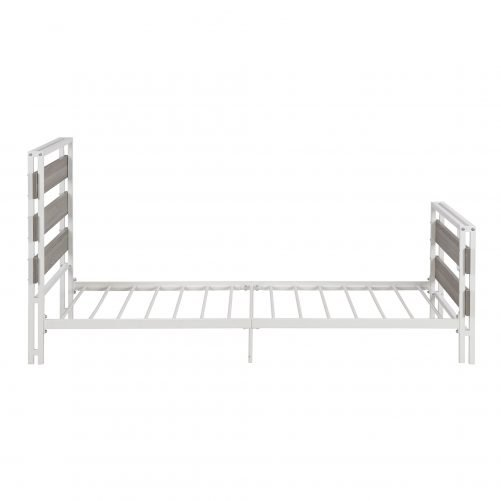 Twin Size Platform Bed Frame With Wood Headboard And Metal Slats