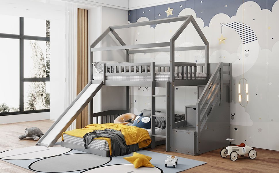Twin Over Twin Bunk Bed With Two Drawers And Slide, House Shape