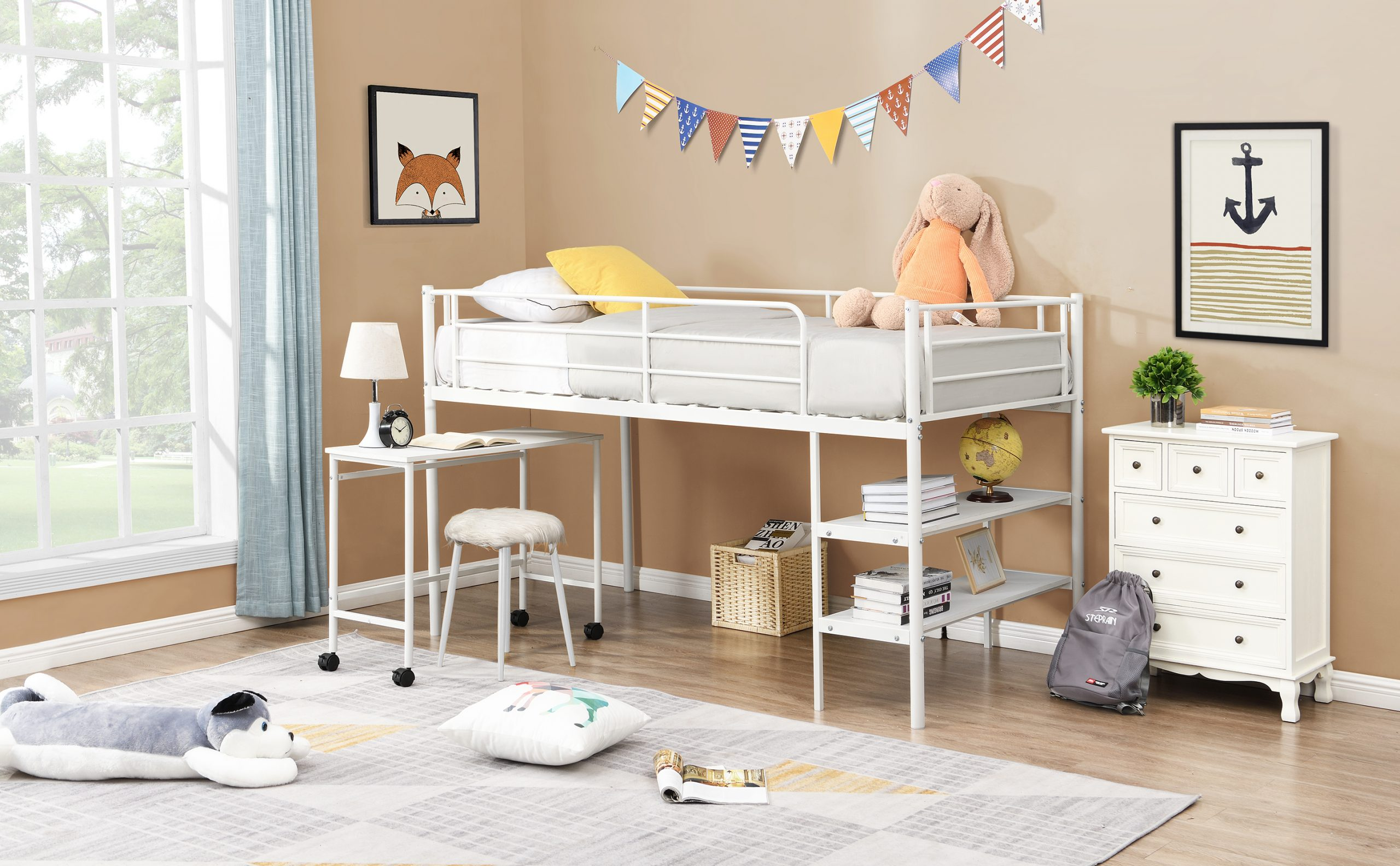 Twin Size Metal Low Loft Bed With Shelves And Built-in-Desk