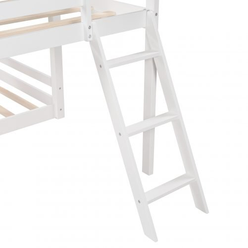 L-Shaped Triple Bunk Bed, Twin Over Twin Bunk Bed With Attached Twin Loft Bed And Ladder And Slide