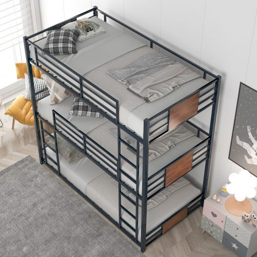 Metal Triple Bunk Bed, Twin Over Twin Over Twin