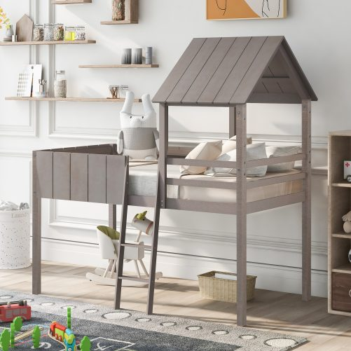 Twin Size House Shape Bed With Roof, Guardrail, and Ladder