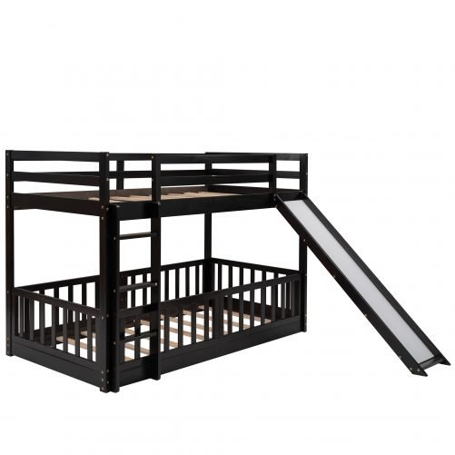 Twin Over Twin Bunk Beds With Slide And Ladder