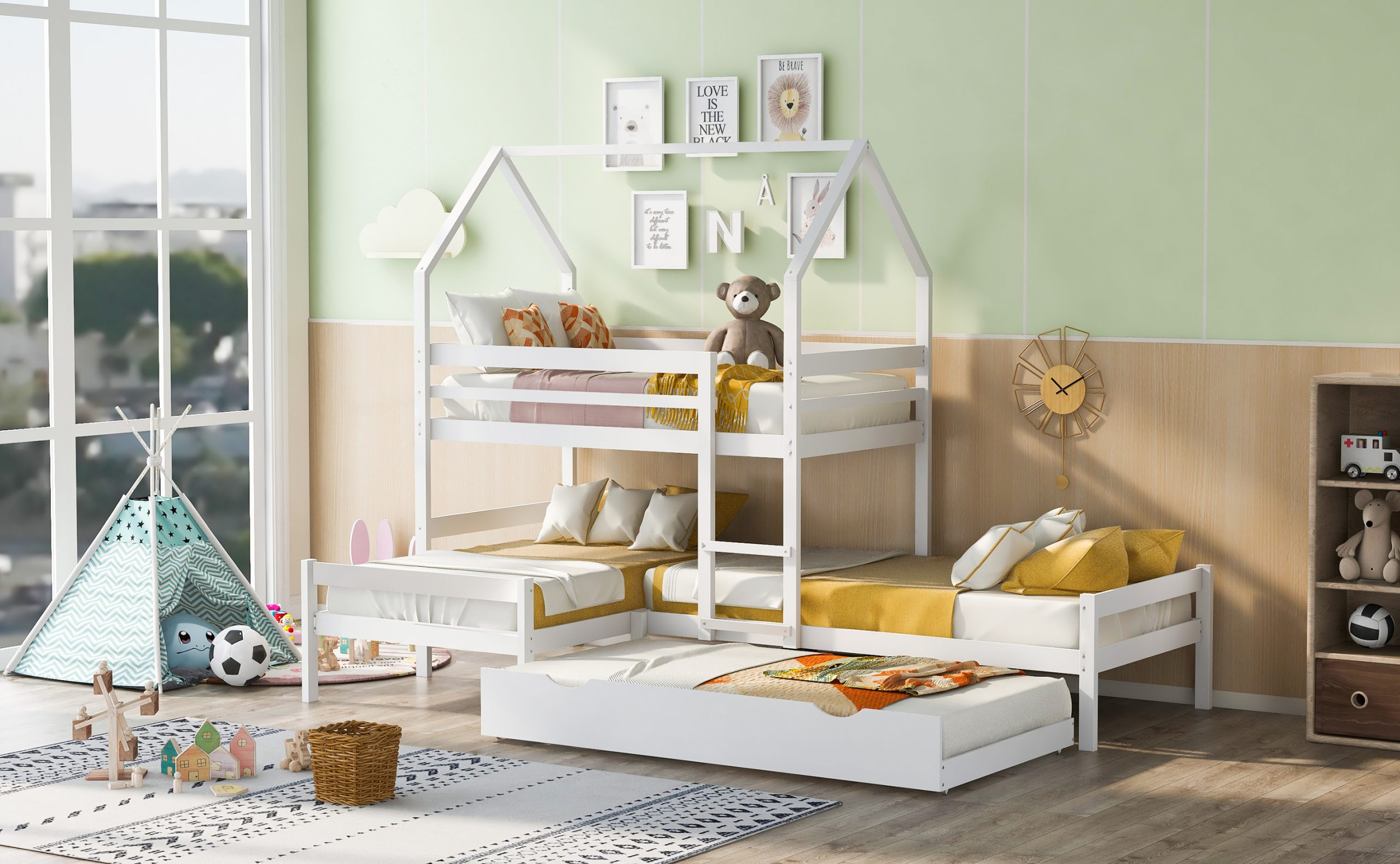Twin Over Twin Over Twin Triple Bunk Bed With Trundle, House Shaped