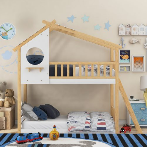 Twin Over Twin Wood Bunk Bed With Roof, Window, Ladder