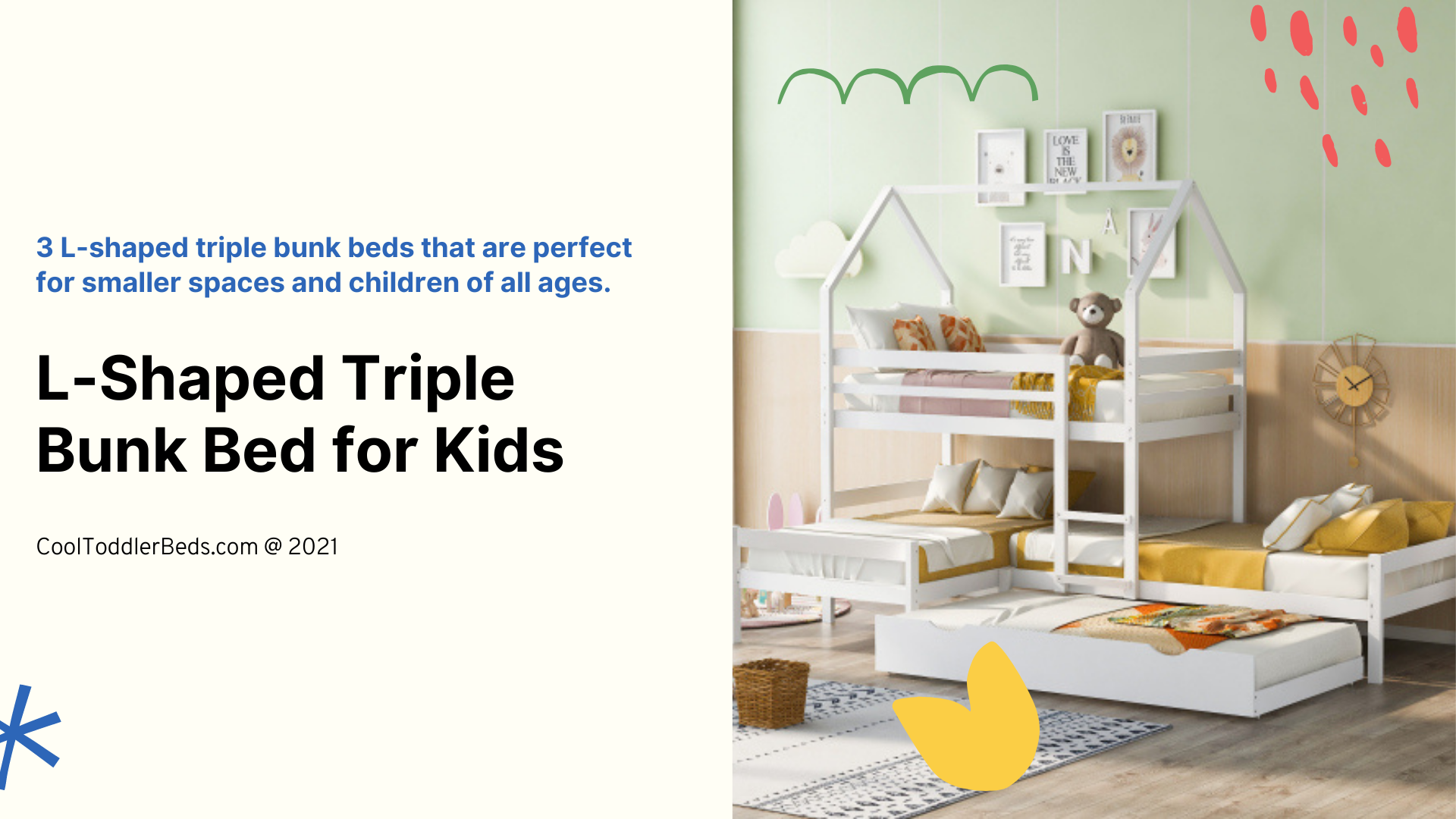 L-shaped triple bunk bed for kids