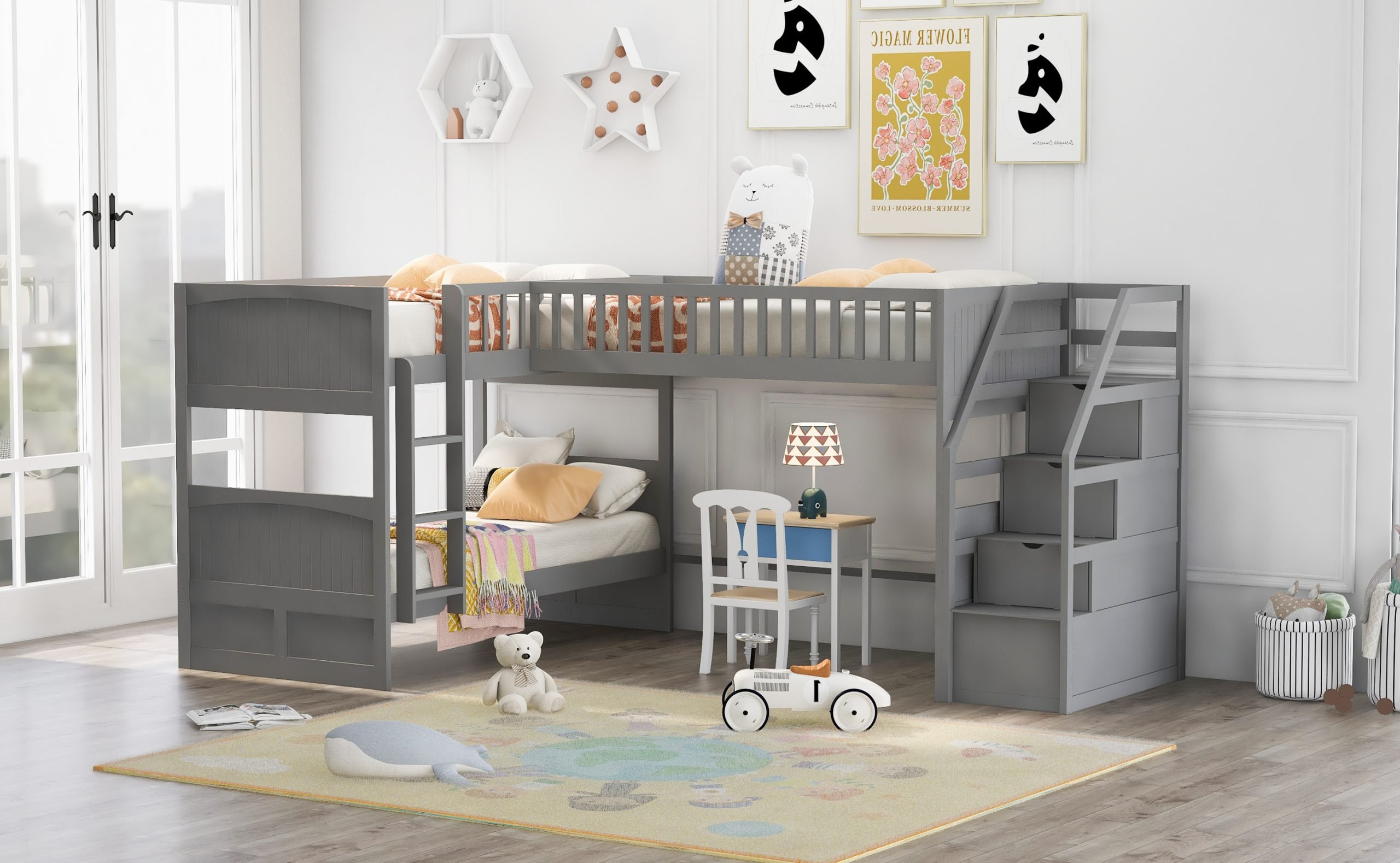 Twin over Twin Wooden L-Shaped Bunk Bed With Ladder And Stairway