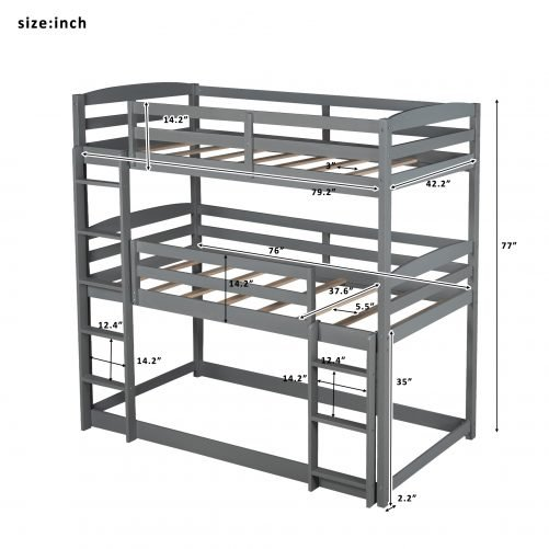 Twin Over Twin Over Twin Triple Bunk Bed For Kids