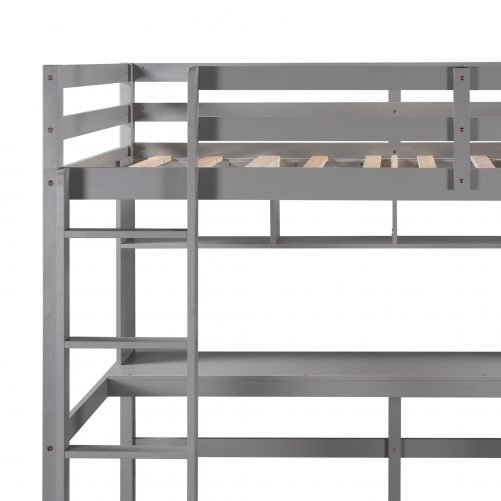 Twin Size Loft Bed With Convenient Desk, Shelves, And Ladder