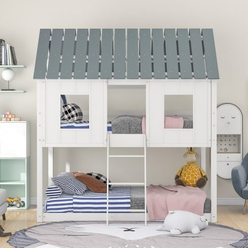 Twin Over Twin Size Low Bunk Beds With Roof And Fence-Shaped Guardrail For Kids