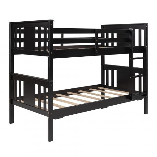 Twin Over Twin Bunk Bed With Ladder For Kids