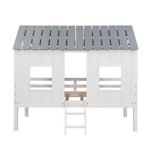 Twin Size Low Loft House Bed With Roof And Two Front Windows